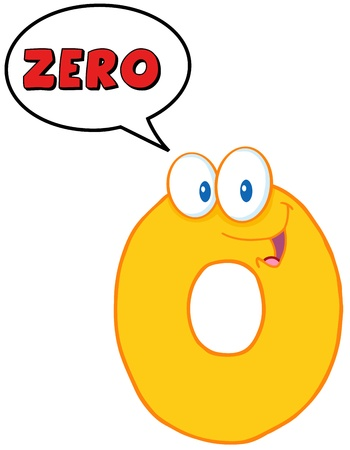 Number Zero Funny Cartoon Character With Speech Bubble