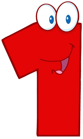 Number One Funny Cartoon Character Vector
