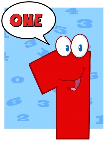 numero uno: Number One simpatico personaggio dei cartoni animati con Speech Bubble e Testo
