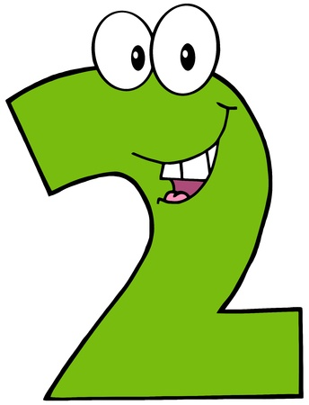 Number Two Funny Cartoon Mascot Character Vector