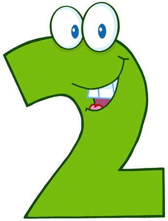 with two: Number Two Funny Cartoon Character Illustration