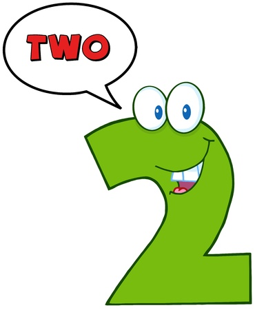 Number Two Funny Cartoon Mascot Character With Speech Bubble