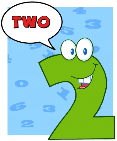 Number Two Funny Cartoon Character With Speech Bubble And Text Vector