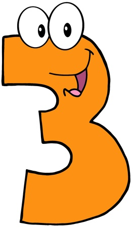 Number Three Funny Cartoon Character Vector