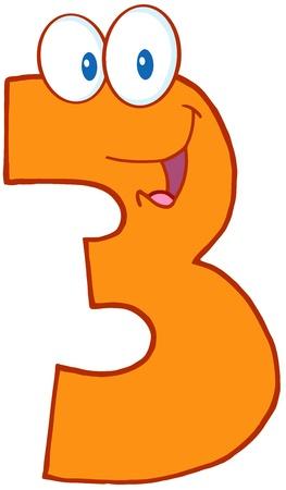 Number Three Funny Cartoon Mascot Character