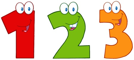 Numbers One,Two And Three Funny Cartoon Mascot Characters Vector
