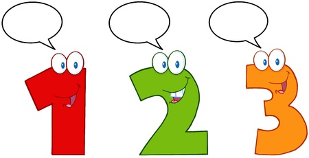 Numbers One,Two And Three Cartoon Mascot Characters With Speech Bubbles Vector