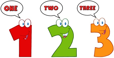 numerals: Numbers One,Two And Three Cartoon Characters With Speech Bubbles
