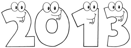 Black And White New Year 2013 Funny Numbers Cartoon Characters Vector