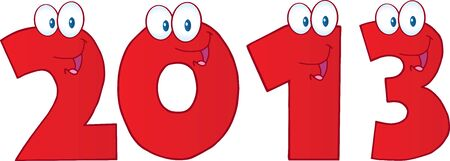 New Year 2013 Red Funny Numbers Cartoon Characters Vector