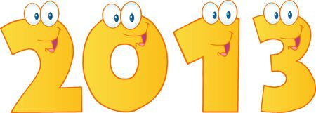 New Year 2013 Gold Funny Numbers Cartoon Characters Vector