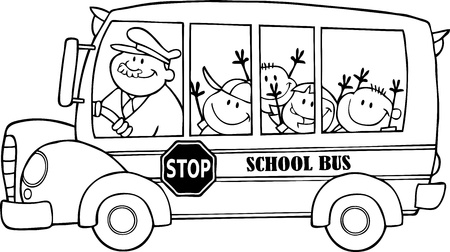 Outlined School Bus With Happy Children  Ilustracja