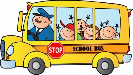 parada de autobus: Niños felices en autobús escolar