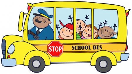 transport scolaire: Autobus scolaire avec des enfants heureux