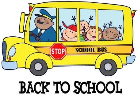 schoolbus: Happy Children On School Bus And Text  Illustration