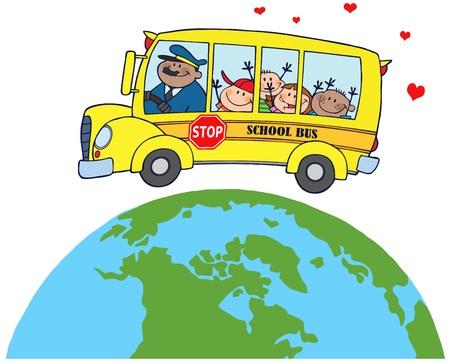 Happy Children On School Bus Around Earth Vector