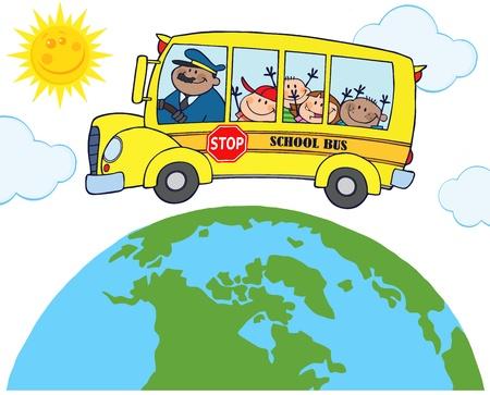 Autobus scolaire avec des enfants heureux autour de la Terre