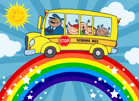 School Bus With Happy Children Around Rainbow  Vector