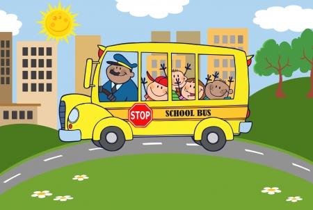 conductor: La partida del autob�s escolar a la escuela de ni�os felices