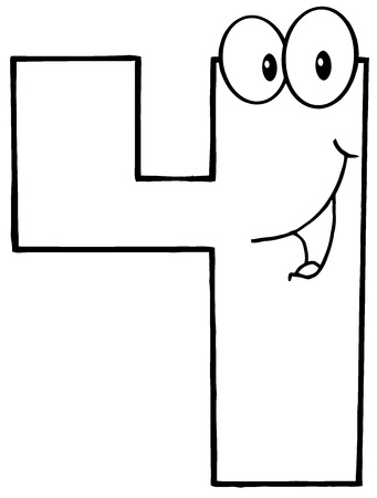 Outlined Number Four Cartoon Mascot Character