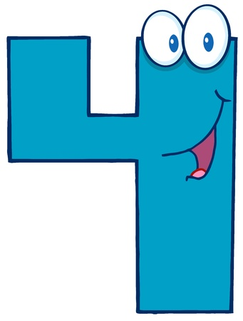 digital Numbers: Number Four Cartoon Mascot Character