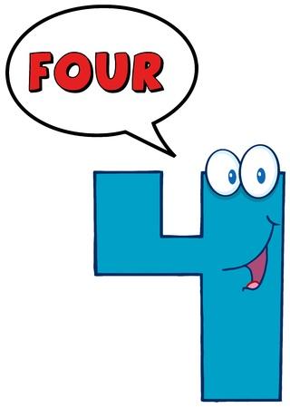 Number Four Cartoon Mascot Karakter Met Speech Bubble