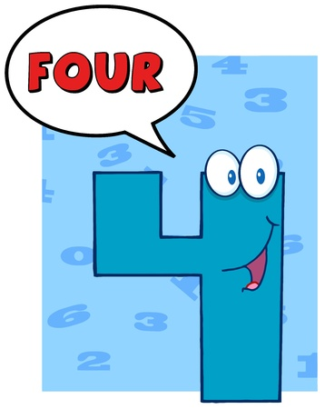 number four: Number Four Cartoon Mascot Character With Speech Bubble  Illustration