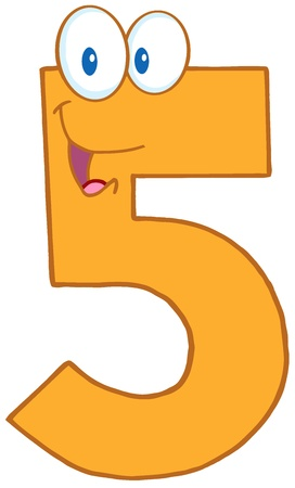 numeric character: Number Five Cartoon Mascot Character