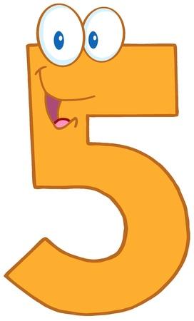 numeric character: Number Five Cartoon Mascot Character