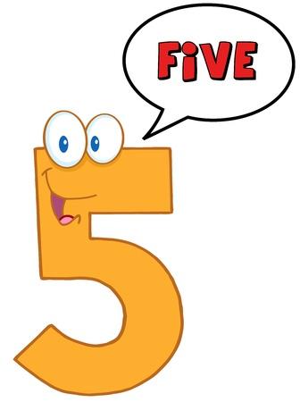 Nummer Vijf Cartoon Mascot Karakter Met Speech Bubble Vector Illustratie