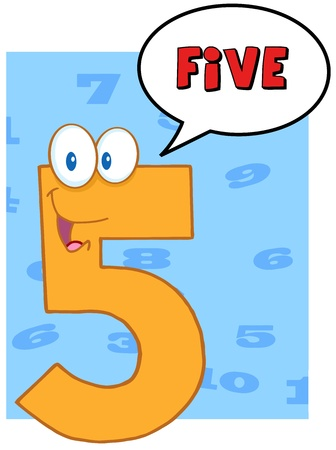 Funny Number Five Cartoon Mascot Character With Speech Bubble Vector