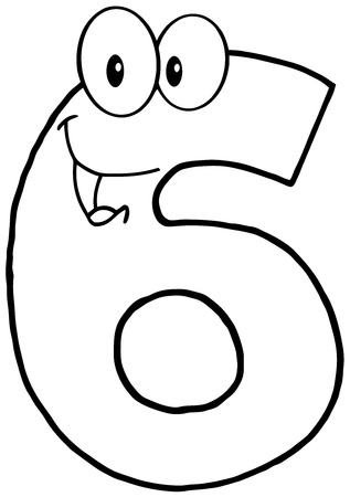 numbers clipart: Outlined Number Six Cartoon Mascot Character