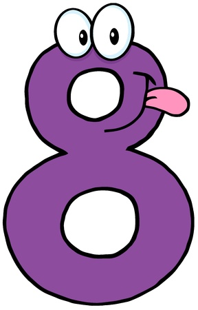 number eight: Number Eight Cartoon Character  Illustration