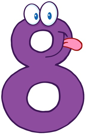 math icon: Number Eight Cartoon Mascot Character