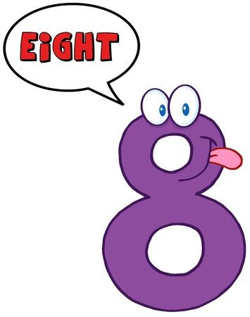 Number Eight Cartoon Mascot Karakter Met Speech Bubble