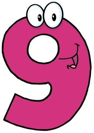number nine: Number Nine personaje de dibujos animados mascota Vectores