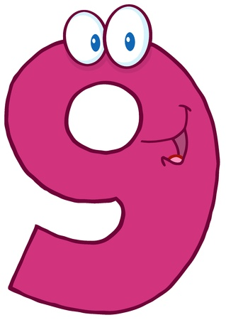 Number Nine Cartoon Mascot Character Vector