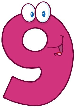 numeric character: Number Nine Cartoon Mascot Character