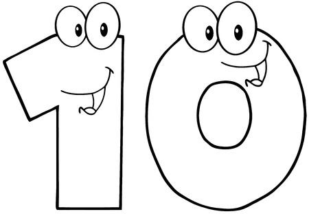 numero diez: Número esbozó seis dibujos animados mascota