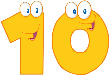 Number Ten Cartoon Character  Vector