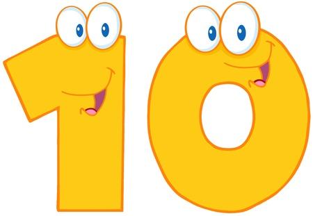 numero diez: Number Ten personaje de dibujos animados Vectores