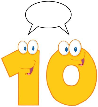 Number Ten Cartoon Mascot Character With Speech Bubble  일러스트