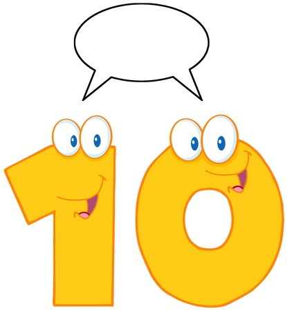 Number Ten Cartoon Mascot Character With Speech Bubble  Ilustração