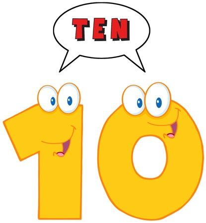 numero diez: Number Ten personaje de dibujos animados con la burbuja del discurso Vectores
