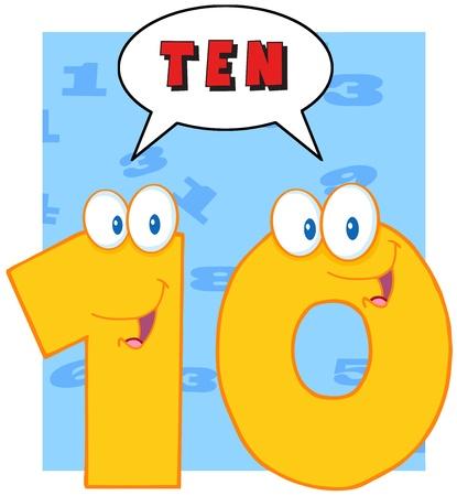numero diez: Number Ten personaje de dibujos animados mascota con la burbuja del discurso Vectores