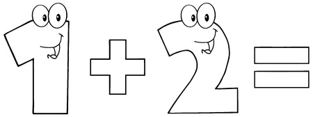 numbers clipart: Outlined Number 1 Plus Number 2
