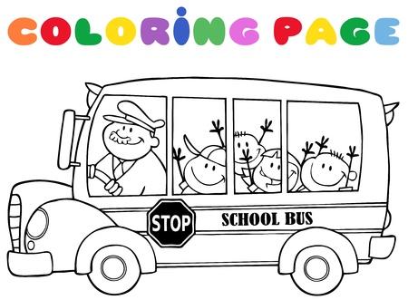 テキストと幸せな子供たちと学校のバスの概説