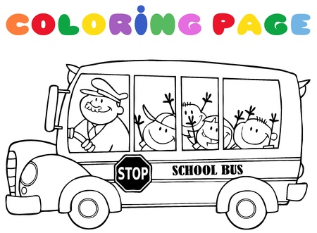 schoolbus: Outlined School Bus With Happy Children With Text Illustration