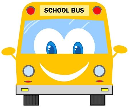 chofer de autobus: Autobús divertido personaje de dibujos animados Escuela
