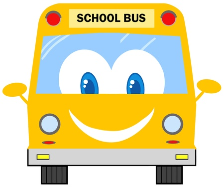 Funny School Bus Cartoon Character  Vector